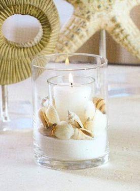 decorar velas con conchas