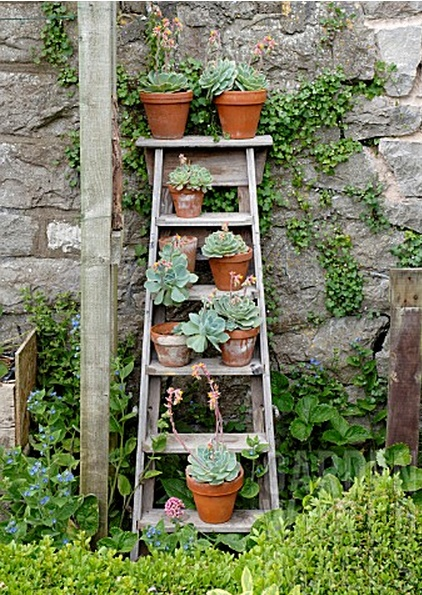 Decorar con escaleras recicladas gorgorita - Small space garden design ideas set ...