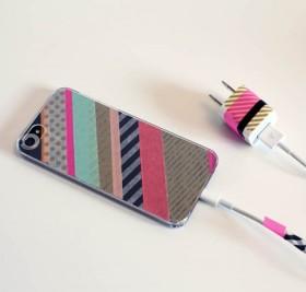 washi tape teléfono y cargador