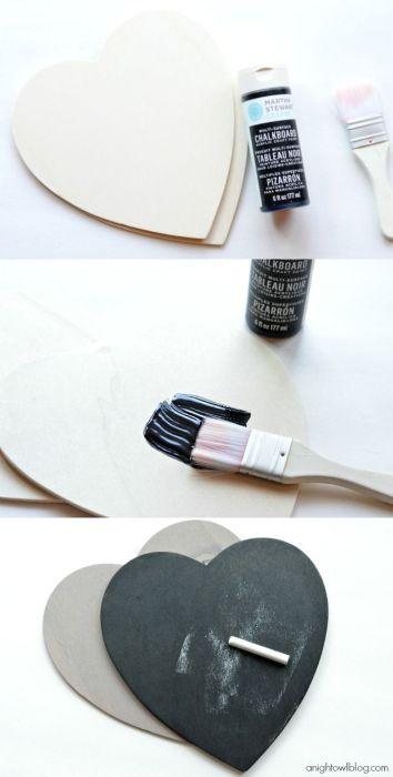 idea pintura pizarra _ corazon madera