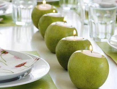 decorar con velas y manzanas