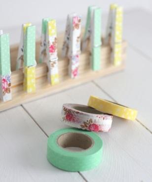 pinzas con washi tape