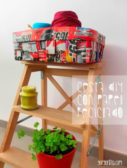 cesta diy papel reciclado